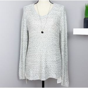 Apt 9 Silver Sequin Layered Long Sleeve Tunic Sz L